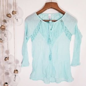 Boho Crochet Lace Turquoise Peasant Top S